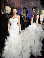 Cheap New Sexy Spaghetti Sweetheart Zipper Organza Ruffle Mermaid Sweep Train Kim Kardashian Wedding Dresses Fabulous Sexy Celebrity Bridal Gowns