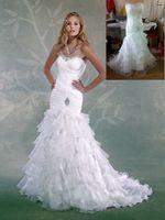 Wholesale White Scalloped Neckline Wedding Bridal Gowns Ruffles White Organza Sleeveless New Style Custom Made Mermaid Wedding Dresses With Beads