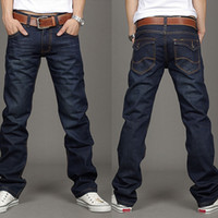 Wholesale Korea Men s Slim Fit Classic Jeans Trousers Straight Leg Blue Adeal