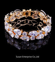 14kt gold chain - Luxury high grade zircon bracelets lady s KT yellow Gold Filled Bracelets gift