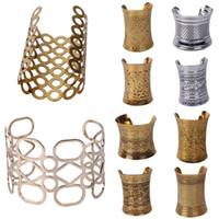 Wholesale 5pcs Vintage Iron Bangles Womens Laides Elegant Copper Bronze Hammered Deco Bracelet Wide Arm Cuff Styles GEA