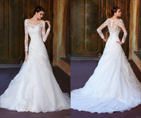 Wholesale 2014 New Elegant Sheer Back Cover Button Lace Long Sleeves Boat Neck Organza Chapel Train Wedding Dress With Lace Jacket Bridal Gown BRI363