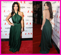 Cheap Kim Kardashian Dark Green Halter Backless Long Chiffon Red Carpet Formal Evening Dresses Gowns E4116