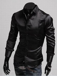 Wholesale 2014 British Style Men Shirts Shiny Artificial Silk Slim Plus Size Shirts Turn down Collar Shirts Colors Size