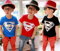 2014 Summer Baby Boys T- shirts Superman Batman Short Sleeve ...