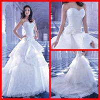 Wholesale 2014 Demetrios Wedding Dresses Sweetheart White Lace Ball Gown Court Train Lace Up For Bridal Gowns With Flower