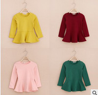 plain t shirts - New Kids Hot Sale Long Sleeve Korean Style T shirt Seven Colors Fashion Frill Plain T shirts