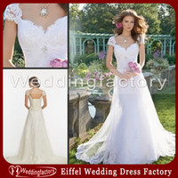 Cheap 2014 Grecian Style Wedding Dresses Vintage Mermaid Lace Bridal Gowns with Crystals Cap Sleeves Lace-up Back and A-line Outer Skirt