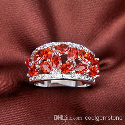 Hot Sell Wedding Rings 925 Sterling Silver Plated Red Gemstone Jewelry Rings