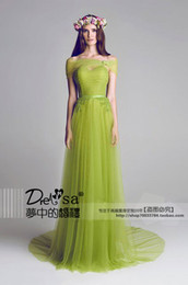 Wholesale 2014 Shirley Lime Green Bridesmaid Dresses A Line Sweep Train Ruched Appliques with Wrap and Train