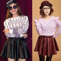 Wholesale New Women s Korea Sexy Stylish Slim Synthetic Leather Skirt High Waist Pleated Mini Dress