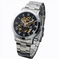 Fashion Men's Mechanical Automatic NEW Hollow Skeleton Mechanical Auto Clocks Mens Metal Band Wrist Watch for Male Gift