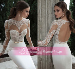 Wholesale 2014 New Arrival White Sheath Wedding Dresses Long Sleeves Bateau Lace Backless Floor Length Modern Spring Bridal Gowns BO3910