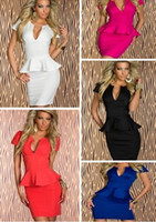 Cheap fashion Pencil Formal Office Lady Work Dress U neck OL Peplum Dress party evening dresses elegant luxury 5colors