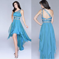 Vintage 2014 High Low Blue Evening Formal Gowns Party Bling ...