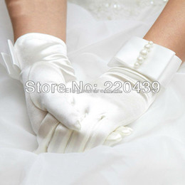 Wholesale Elastic Satin Fingertips Wrist Length Wedding Evening Gloves With Pearls white ivory two Colors Available