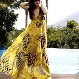 Wholesale Hot Sexy Women Lady Bohemia Summer V neck Braces Maxi Long Beach Dress Yellow Red Large Size