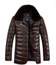 Wholesale Authentic Septwolves Men s Clothing Genuine Leather Down Jacket Fox Fur Collar Sheepskin Jacket Outerwear Size S XXXL tk0871