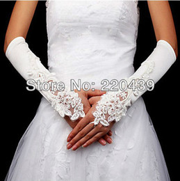 Wholesale Satin With Embroidery Bridal Fingerless Elbow Length Gloves white ivory two Colors Available