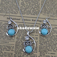 Wholesale Vintage jewelry set turquoise owl drop pendant necklace earring women costume dress S050