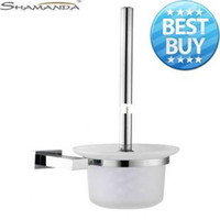 Wholesale Toilet Brush Holder Solid Brass Construction Base in Chrome Finish Frosted Glass Cup Bathroom accessories