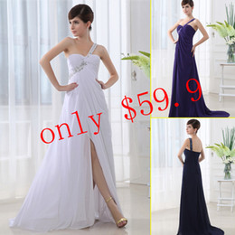 Wholesale Four Colors One Shoulder Lace up Chiffon Long Prom Gowns Empire Applique In Stock Dresses With Front Slit Beads Accent SD011