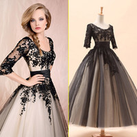 Cheap Princess Prefered Black Crew Neckline 3 4 Long Sleeves Short Evening Dress Applique Sash Tulle A-line Ankle Length In Stock Prom Dresses New