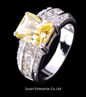 Wholesale Jewellery cameo yellow topaz sapphire lady s KT white Gold Filled Ring for gift Size8 pc Freeshipping