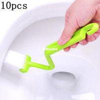 Wholesale 10pcs S Shape Plastic Toilet Brush Closestool Brush Closet Bowl Cleaning Brush Color Assorted Drop shipping