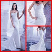 Cheap Sheath/Column berta bridal Best Model Pictures Sweetheart 2014 wedding dresses