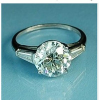 With Side Stones accent stone - 4 CT EMERALD CUT ACCENT DIAMOND ENGAGEMENT RING