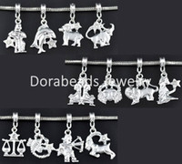 B09424 zodiac charms - Mixed SP Zodiac Dangle Beads Fit Charm Bracelet B09424