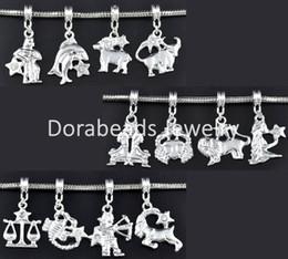 Free Shipping! New hot sale 24 Mixed SP Zodiac Dangle Beads Fit Charm Bracelet (B09424) DIY jewelry making