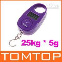 Digital scale 10kg-100kg digital Wholesale - 25kg*5g 25kgx5g 25kg-5g Mini Purple Display Hanging Luggage Fishing Weighing Digital Scale KG LB, fr