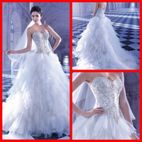 Ball Gown Model Pictures Sweetheart 2014 Demetrios Wedding Dresses Vintage White Tulle Court Train Appliques Crystal Beads Ball Gowns Lace Up Sweetheart Bridal Gowns
