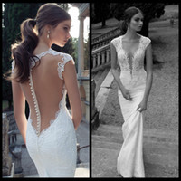 Trumpet/Mermaid Reference Images V-Neck Berta Winter 2014 Lace Sheer Wedding Dresses Deep V Neck Backless Covered Button Mermaid Court Train Wedding Bridal Dresses