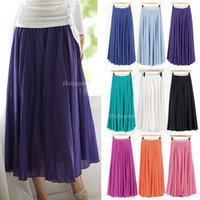 Cheap Womens Boho Style Candy Color Full Circle Pleated Long Maxi Skirt S M L Free Shipping