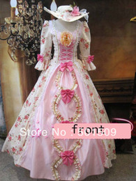 Medieval Renaissance Gown rose Dress with hat vampire Costume Victorian Gothic Lo Marie Antoinette civil war Colonial Belle Ball