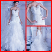Sheath/Column Model Pictures Sweetheart 2014 Demetrios Wedding Dresses Vintage Sheath White Tulle Sweetheart Beads Lace Up Bridal Gowns