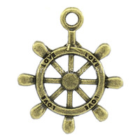 K02445 antique steering wheels - Charm Pendants Steering Wheel Antique Bronze quot Love quot Carved x20mm K02445