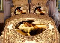 Adult Jacquard 100% Cotton Wholesale - European style cotton bedclothes luxury bed linen unique 3d oil printed 4pcs bedding set for queen King bedcover bed sheet sets