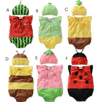 Unisex Summer 100% Cotton 2014 baby Rompers with Hat fruit style One-pieces cotton infant Bodysuits babies clothing kids clothes