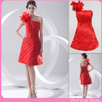 Real Photos One-Shoulder Organza 2015 New Knee Length Evening Dresses Red Organza One Shoulder Real Samples Pleats A-line Bridesmaid Graduation Party Gowns Custom Made