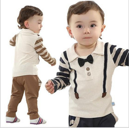 Wholesale 2014 New Spring Fall Baby Wear Good Quality Pure Cotton Stripe Bow Tie Tshirt Pants Toddler Boy Casual Set Infant Clothes Fit Y