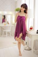 Wholesale 2015 Promotion Sexy Lingerie Women Nighty Azure See Through Underwear Sleepwear Lingerie Badydoll Dresses purple