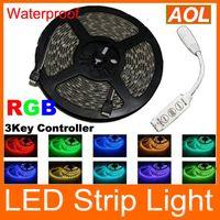 Wholesale Cheap high brightness RGB Flexible LED Strip Lights ft Waterproof SMD leds Keys Controller No Power adapter DHL