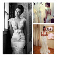 Wholesale V neck White Mermaid Sleeveless Lace Bow Appliques Wedding Dresses Floor Length Custom Bride Gowns