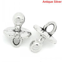 Charms K03398 Slide Charm Pendants Baby Pacifier Antique Silver 14x10mm,50PCs (K03398)