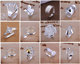 Hot Sale 925 Silver Jewelry 30pcs lot Fashion Charming Multi Styles Finger Rings New Rings Mix size & mix order