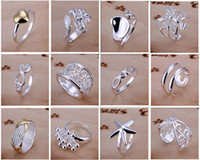 Band Rings rings - New Arrive silver jewelry Charming Women girls finge rings Multi Styles Rings Mix size amp mix order Hot Sale